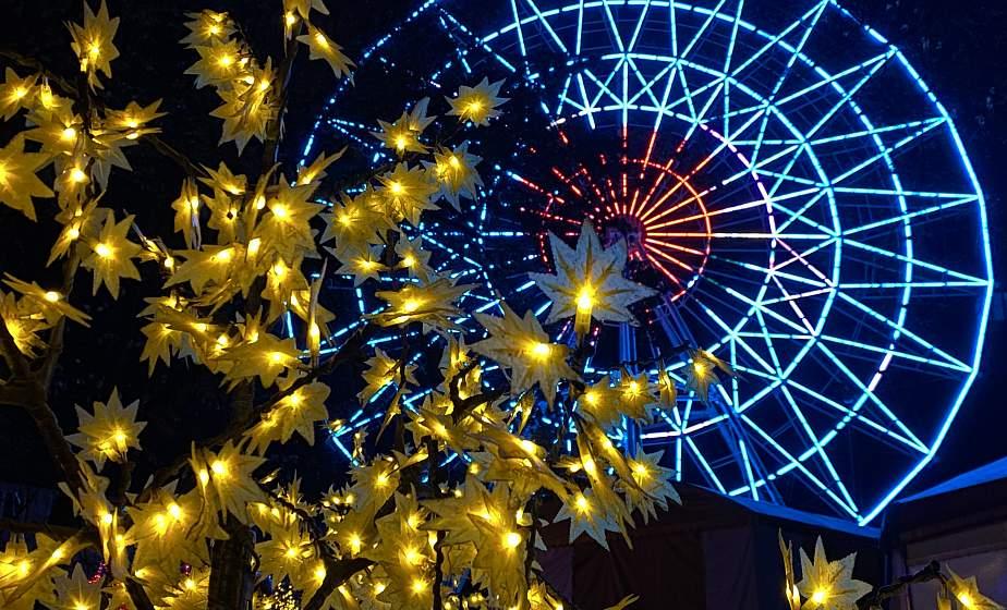 Ночные огни, яркий парк и улицы города. Ноябрьский вечер  в Гродно
