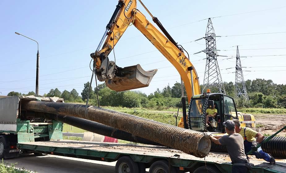 В Гродно устраняют обрушение дорожного полотна возле нового автомобильного моста