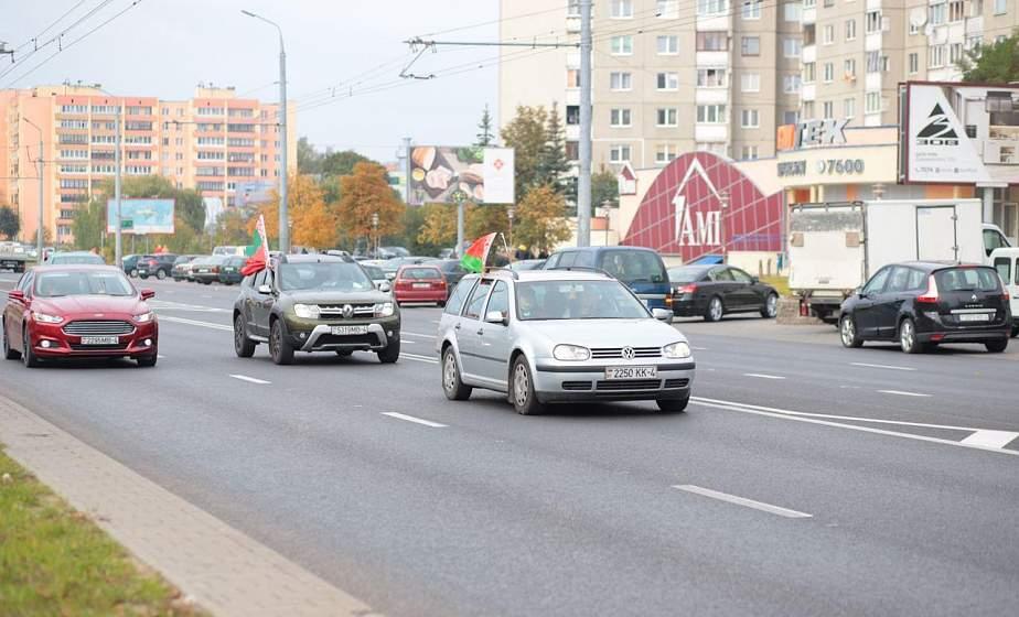 «За единую Беларусь!». Гродно присоединился к республиканскому автопробегу в поддержку силовиков