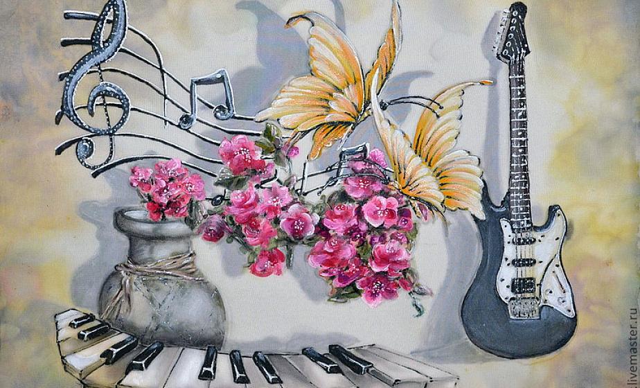 Открытка гитара и цветы